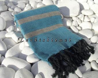 Turkishtowel-Soft-Highest Quality,Pure Organic Cotton,Hand Woven,Bath,Beach,Spa,Yoga,Travel Towel or Sarong-Cream,Turquoise and  Black