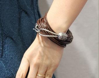 Vintage Hook Ornament Multi Strand Leather Bracelet(Dark Brown)