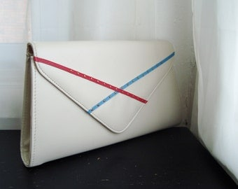 1980's Eggshell Envelope Clutch With Red and Blue Detail