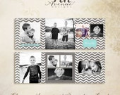 Chevron Love 5x5 Trifold Card templates for photographers