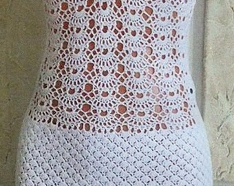 Crocheted Shells & Lace Halter Dress - Made to Order