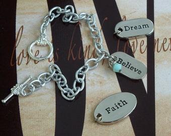 Faith - Dream - Believe - Stuttering Awareness Charm Bracelet