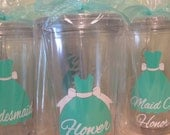 Flower Girl dress style Personalized w/name acrylic tumbler, Available in skinny, standard, sport bottle, mason, kiddie cup & XL cup