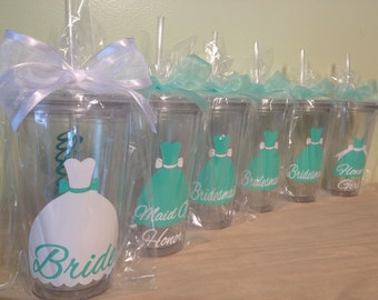 Bridal party gift, dress style Personalized w/name acrylic tumbler, Available in skinny, standard, sport bottle, mason, kiddie cup & XL cup