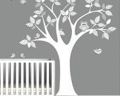 Vinyl WAll Decal Nursery Wall Vinyl-Tree with Owl,Birds,Pattern