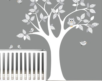 Vinyl WAll Decal Nursery Wall Vinyl-Tree with Owl,Birds,Pattern-e22