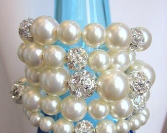 Celebration -5 Strand Swarovski Crystal Pearl and Crystal Rhinestone Bracelet, Bridemaids, Wedding, Prom, Formal, Holiday, Christmas