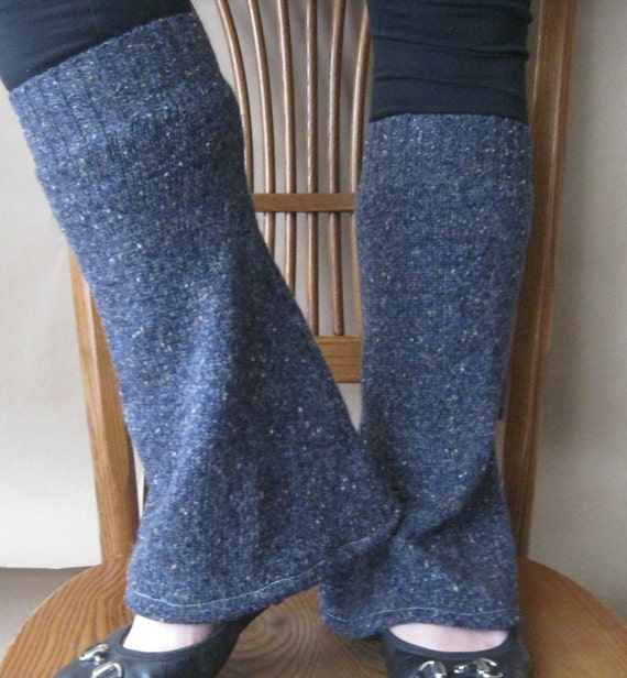 Leg Warmers Bootcut In Denim Navy Wool  By SewEcological On Etsy