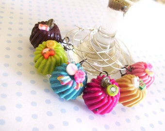 So cute polymer clay cake wine charms 6 colors with different themes, Kawaii Mini Food