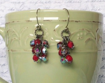 Red Iridescent Dangle Earrings, Red and Silver Cranberry Chandelier Earrings, Gift For Mom, Faceted
