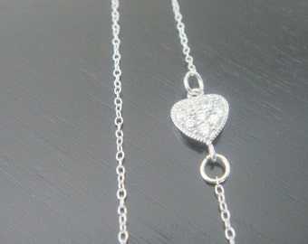 Sterling Silver Sideways Heart Necklace Earrings Bridal Bridesmaids Special Ocassion Birthday Christmas