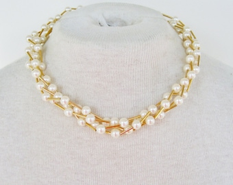 Vintage 1987 Signed Avon Cashmere Cream Ivory Faux Pearl Gold Tone Tube Beaded Multi Four Strand Traditional Necklace in Original Box NIB