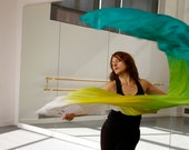"""Silk Fan Veil-86"""" (1) includes one extra long fan (pictured-""""Ocean"""" color way) (white/yellow/chartreuse/turquoise)"""