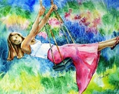 Girl On A Swing - Giclee Fine Art watercolour Print - Choice of  sizes