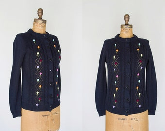 1960s Sweater - 60s Sweater - Navy Blue Floral Cardigan Sweater