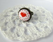 Red Heart Ring - Fabric covered 15mm button - adjustable antique bronze band