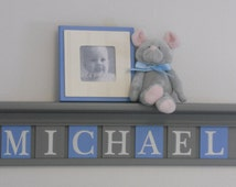 """Baby Boy Nursery Wall Decor, Personalized Baby Name Sign - 30"""" Grey Shelve - with 7 Painted Blue and Gray Wood Letters Custom for MICHAEL"""