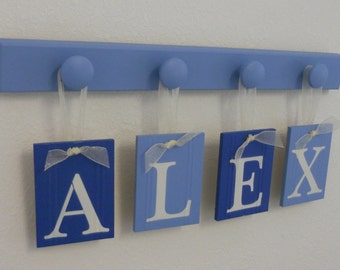 Blue Boys Birthday Gifts Hanging Nursery Wall Letters Personalized for ALEX Set Includes Name and 4 Wooden Pegs