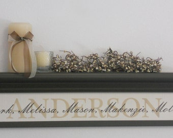 "Personalized Wedding / Housewarming Gift, Family Name Signs, Date and Year, Home Decor Gift - 30"" Chocolate Brown Shelf / Sign"