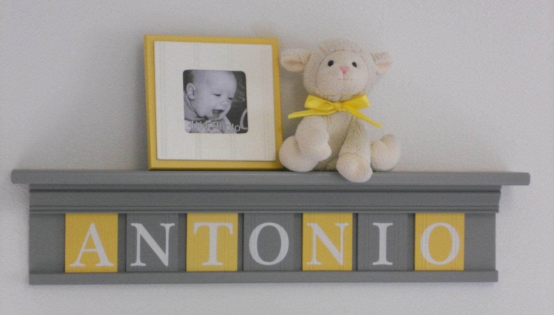 yellow and gray nursery wall decor 30 grey shelf sign. Black Bedroom Furniture Sets. Home Design Ideas