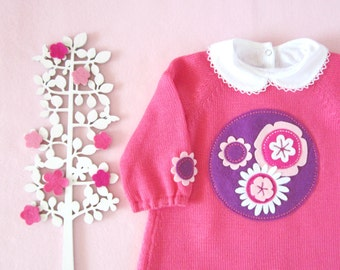 Knitted baby dress with felt flowers. Pink. 100% wool. READY TO SHIP size 3/6 months.