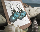 Glass Fishing Float Earrings Made with Ice blue Glass, Green Nets and Fair Trade Sterling Silver Findings