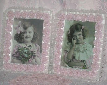 A Pair of  5X7 White and Pink Embellished Picture Frames with Handmade Roses and Sheer Ruffles