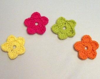 Crochet Flower Appliques Set of Four Pink Yellow Green Orange