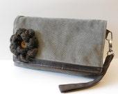 Tan Soft Cord Clutch W/ Crocheted Flower