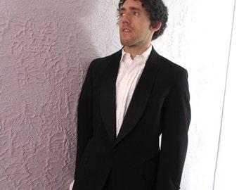 50's Vintage Men's Tuxedo Jacket Silk Lapels 46 long black gab