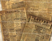 Shabby Old Paris Newspapers Postcard Size Papers Chic Decoupage Backgrounds France Grunge Digital Collage Sheet Download 198