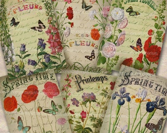 Flowers Spring Printemps French Garden Shabby Chic ATC ACEO Butterflies Digital Collage Sheet Instant Download 070