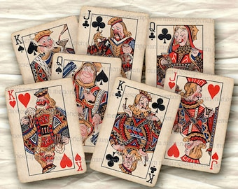 Funny Playing Cards Retro Royals Flushed Tipsy Fifties Decoupage Deck of ATC ACEO Size Crafting Digital Collage Sheet Instant Download 234