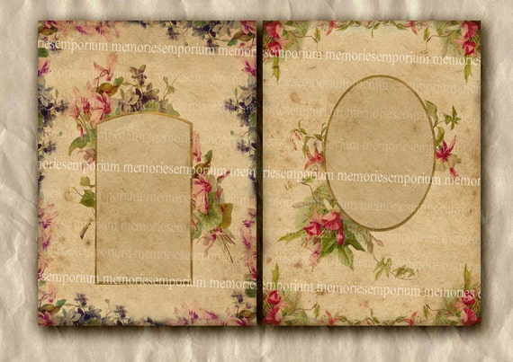 Antique Photo Album Pages Digital Collage Sheet Shabby Chic Victorian Cottage Floral Decoupage Borders Family Matt Frames Printable 331