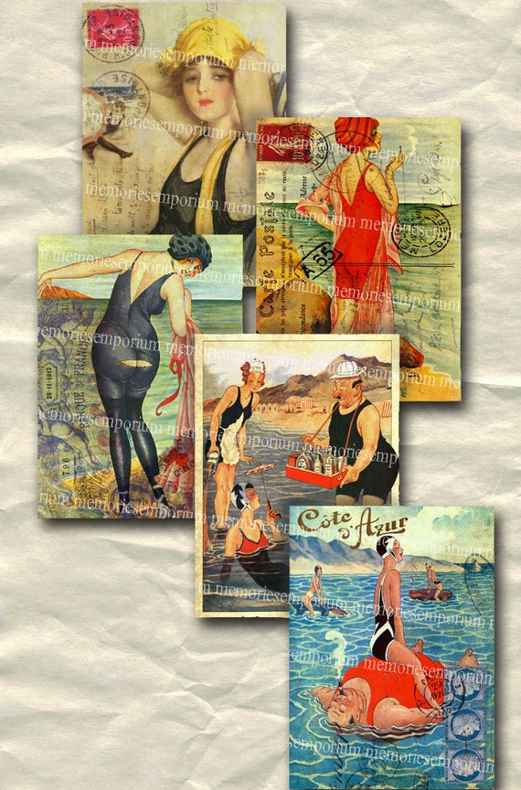French Beach Postcards Art Deco 1920s Seaside Seashore ATC ACEO 2.5 x 3.5 inches Decoupage Digital Collage Sheet Download 137