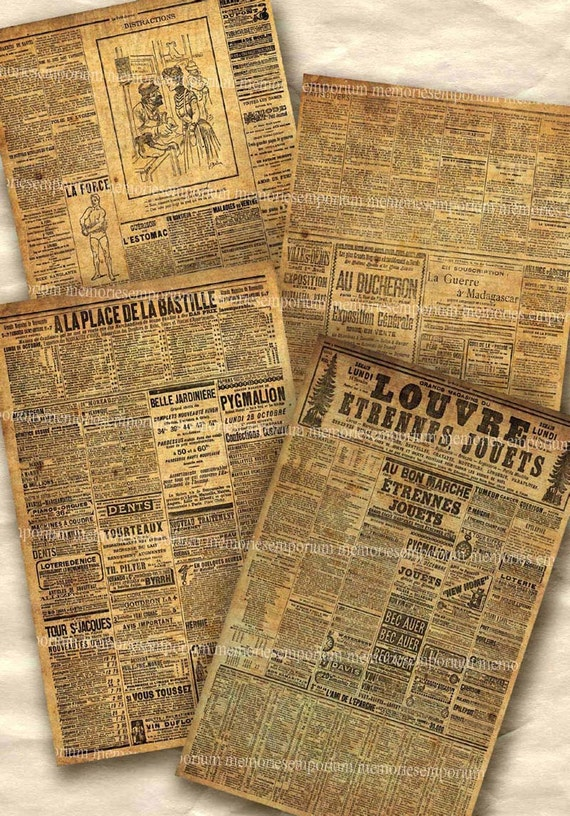 Shabby Old Paris Newspapers Postcard Size Papers Chic Decoupage Newsprint Backgrounds France Grunge Printable Collage Sheet Download 198