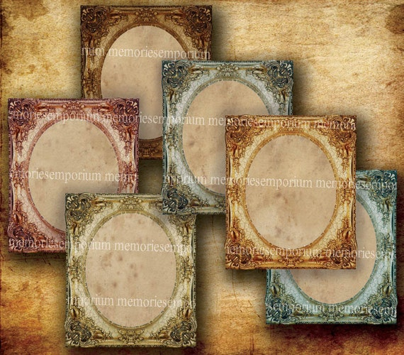 Shabby Chic Picture Frames Distressed Antique Gilt Decoupage for Gift Swing Hang Tag Digital Collage Sheet Printable Instant Download 289