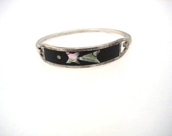Vintage Sterling Silver Bangle Bracelet Black Onyx and Abalone Inlay