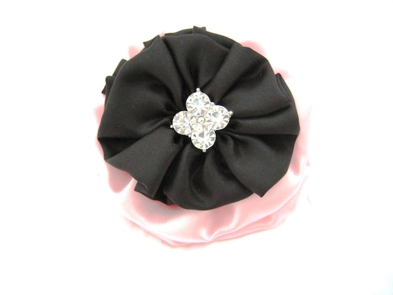 Pink and Black Hair Bow made from Satin with Crystal Accents - Wedding Accessory