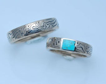 unique 14k White Gold and Sterling Mokume Gane with stone inlay Wedding Set