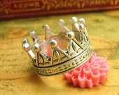 5 pcs Silver Crown Charms Crown Rings 23x12.5mm CH1439