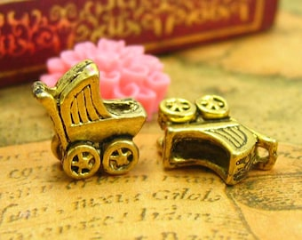 10 pcs gold Baby Stroller Charms Pram Charms 12x12mm CH1301