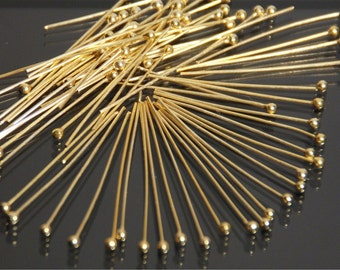 Vermeil ball end head pin 50 pieces, 20mm long, 27 gauge, with 1.2 mm ball end