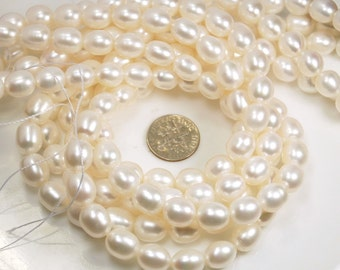 11-12mm rice shape freshwater pearls, white, rice pearls, grade AA-AAA, natural white color, full 15 inch strand