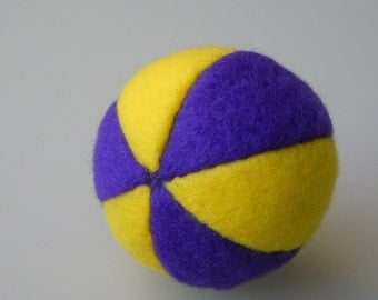 Fleece Catnip Ball Cat Toy Yellow and Purple