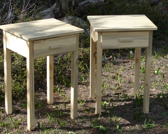 Nightstands- matching pair with drawer in beetle kill pine / natural edge freeform  / eco item