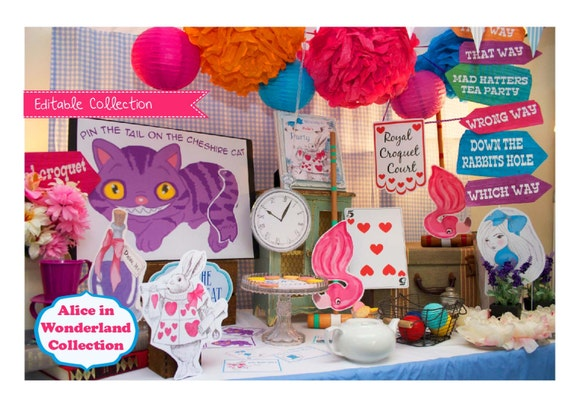 Alice in wonderland party decorations by creativelittlestars - Alice in the wonderland party decorations ...