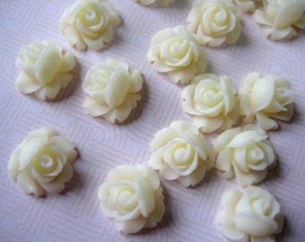 13pcs Beautiful Rose Cabochons Flatback (12mm), Milky White