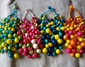 bright handmade trendy  three colors bead statement  necklace