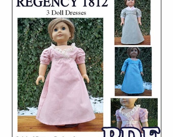 1812 Regency Period Doll Dress Patterns for 3 Dresses to fit American Girl or 18 inch Doll - PDF INSTANT DOWNLOAD